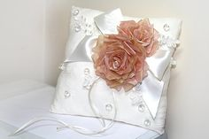 Handmade wedding ring pillow with couture flowers