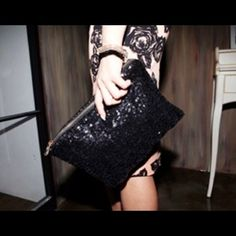 ❤️Sparkling Evening Bag❤️ Adorable & sparkly evening bag. Easily transitions between casual and formal. I have black & red, but willing to custom order pictured variety of different colors. Please comment if interested. Bags Clutches & Wristlets