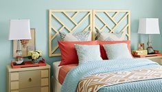 Always on the look-out for inexpensive, DIY headboard ideas for staging. Chippendale-style headboard from Lowes.
