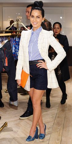 Munn feted the west coast Tommy Hilfiger flagship in chic separates, including a graphic blazer and striped button-down.
