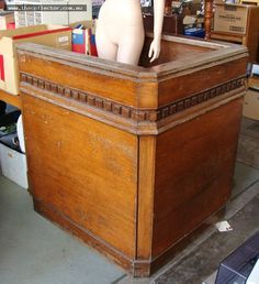 Lot 45 - Large hardwood Dock from Flemington Magistrates court with handwritten notes and signatures to base