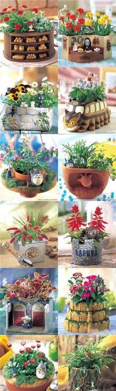 totoro, spirited away, planters - Modern Studio Ghibli Films, Spirited Away, My Neighbor Totoro, Hayao Miyazaki, Vinyls, Geek Stuff, Cool Stuff, Anime Art, Gardening