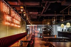 london-based architecture and design practice michaelis boyd has completed the design of 'the fat pig', a newly opened restaurant from chef tom aikens. Dark Restaurant, Pig Restaurant, Modern Restaurant Design, Restaurant Ideas, Lounge Design, Cafe Design, Store Design, Design Design, Fat Pig