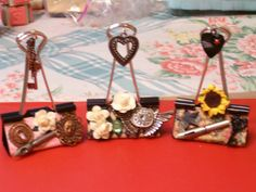 Altered Binder Clips for my swap partner here at The Craft Hole. :-)
