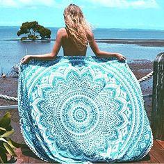 NANDNANDINI-beautiful multi colour beach throw roud tapestry Indian Mandala Round Roundie Beach Throw Tapestry Hippy Boho Gypsy Cotton Tablecloth Beach Towel WITH BEAUTIFUL POM POM BORDER, http://www.amazon.com/dp/B01JER516C/ref=cm_sw_r_pi_awdm_x_C5hOxbKR9WF7X