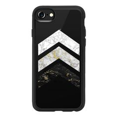 Gold Flecked Marble Chevrons / Transparent - iPhone 7 Case And Cover (25.365 CLP) ❤ liked on Polyvore featuring accessories, tech accessories, phone cases, cases, phones, iphone case, chevron iphone case, marble iphone case, iphone cover case and transparent iphone case