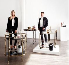 It's time to wheel out the drinks trolley. your hosts today: interior design maestro and mixologist, David Hicks, and Belle's interior design editor Lucy McCabe, shot by Jonathan Cami. Front cart from Conley & Co. Bar Trolley, Drinks Trolley, Bar Carts, Brighton Bars, Happy Hour Bar, Tonic Drink, Belle Magazine, Coffee Bar Design, David Hicks