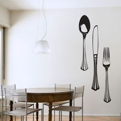 Fancy Silverware Set Wall Decal  by WallumsWallDecals, $39.99 #kitchen #wallart