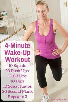 The 4 Minute Wake-Up Workout + Trick For Maximum Fat Burning. #Eveningwork #healthfitness #healthfitnessmotivation #workout