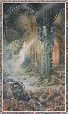 "Luthien Before Morgoth by Alan Lee: ""fluttering before his eyes, she wound/ a mazy-wingéd dance"" Alan Lee, Jrr Tolkien, Tolkien Books, Hobbit Art, O Hobbit, John Howe, Fantasy Literature, Alchemy Art, Morgoth"