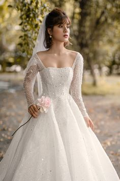 Luxury ballgown with long sleeve/ Winter wedding dress bling and glam Luxury wedding dress with scoop neckline and long sleeve for glamorous bride The Daria gown is your princess bridal dream made Luxury Wedding Dress, Classic Wedding Dress, Wedding Dress Trends, Long Wedding Dresses, Ballgown Wedding Dress, Christmas Wedding Dresses, Old Fashioned Wedding Dresses, Disney Inspired Wedding Dresses, 2 In 1 Wedding Dress