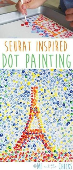 Seurat Inspired Dot Painting Craft - Teach your kids art history! Learn about pointillism by creating your own dot painting. This is a creative craft for your homeschool art class or world cultures/geography class on France. For more kid crafts, visit Kids Crafts, Creative Crafts, Creative Art, Summer Kid Crafts, Creative Activities For Kids, Quick Crafts, Fall Crafts, Kids Art Class, Art Lessons For Kids