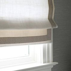 White Linen Roman Shade Lee Jofa Greek Key Ecru Cordless Custom Roman Butter/Off White Linen Luxury Cotton Shade Bedroom Nursery Childsafe by PeninsulaDesigns on Etsy Curtains With Blinds, Blinds For Windows, Roman Blinds, Window Valances, Window Blinds, Linen Roman Shades, Bathroom Feature Wall, Shades Blinds, Shades Window