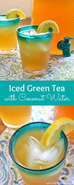 Iced Green Tea with Coconut Water ... a refreshing, healthy iced tea recipe! This easy green tea recipe is made with coconut water, giving it a lightly sweetened, unique flavor ... the perfect summer drink! | Hello Little Home