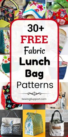 Bag Patterns to sew: 30 free lunch bag patterns sewing projects and tutorials including insulated drawstring and tote styles. Instructions for how to make a fabric lunch bag box or sack. - Lunch Bag - Ideas of Lunch Bag Bag Pattern Free, Bag Patterns To Sew, Sewing Patterns Free, Free Sewing, Easy Sewing Projects, Sewing Projects For Beginners, Sewing Tutorials, Sewing Tips, Sewing Hacks