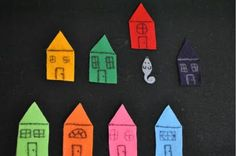"""Where's the mouse felt game- hide mouse and ask kids to find it. Great for learning colors- """"is the mouse under the pink house? Craft Activities For Kids, Toddler Activities, Preschool Activities, Crafts For Kids, Time Activities, Toddler Fun, Toddler Preschool, Learning Colors, Kids Learning"""