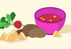 Papinha de inhame, beterraba e frango  Ingredientes  - 2 colheres (sopa) de frango picada  - 2 inhames grandes descascados e picados (...