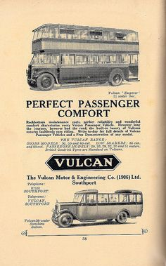 Vulcan Motor Bus advert - 1930 by mikeyashworth, via Flickr