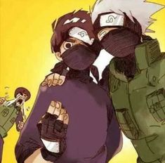 Lee thought it would cool to wear a mask like Kakashi, and Guy is going berserk because he thinks Kakashi is trying to steal his protege from him. Kakashi thinks Guy is going Besek is funny, so he is going to continue teasing him for a bit more. Naruto Uzumaki Shippuden, Naruto Kakashi, Anime Naruto, Naruto Comic, Naruto Boys, Naruto Gaiden, Naruto Fan Art, Naruto Cute, Shikamaru