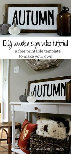 Great simple tutorial to make your own painted wood sign - it's easier than you think! Painted Wood Signs, Wooden Signs, Diy Painting, Painting On Wood, Wooden Diy, Wooden Crafts, Living At Home, Fall Diy, Christen