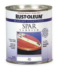 Acquire the Rust-Oleum Marine Coatings Marine 1 qt. Spar Varnish Gloss clear recommended for use on exterior wood surfaces, UV-, salt- and mildew-resistant from The Home Depot Waterproof Paint, Sea Spray, Painting Concrete, Wood Boats, Minwax, Paint Stain, Weathered Wood, Rust, Exterior