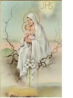 Blessed Mother and Jesus Mother Of Christ, Blessed Mother Mary, Blessed Virgin Mary, Religious Pictures, Religious Icons, Religious Art, Vintage Holy Cards, Queen Of Heaven, Mama Mary