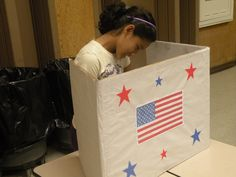 Girl Scout Meeting idea for November:  Learn to vote. Make a voting booth, ballot box, and vote on Girl Scout Meetings ideas. Democracy.