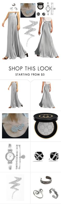 """silver"" by tatianagavrilova ❤ liked on Polyvore featuring Gucci, Anne Klein, David Yurman and NYX"