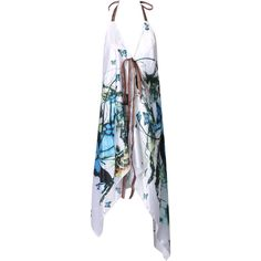 White Halter Butterfly Print Open Back Asymmetric Dress (41 BAM) ❤ liked on Polyvore featuring dresses, vestidos, strap dress, halter top, white halter top dress, white halter dress and white dress