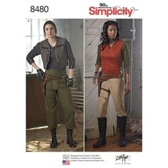 Become your favorite warrior with this pattern from Lori Ann Costumes Designs. Misses' pattern includes two top styles, pants, two vest styles, and holster. Simplicity sewing pattern.