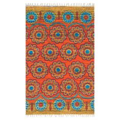 Anchor your living room seating group or define space in the den with this eye-catching cotton rug, featuring a floral-inspired medallion motif for exotic ap...