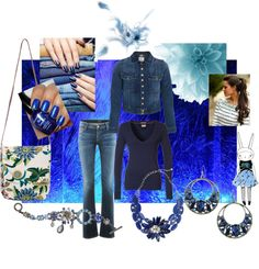 """""""Blue Jeans and Jeweled Flowers"""" by jancarlson on Polyvore"""