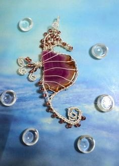 Wire Wrapped Agate Geode Seahorse Pendant - JEWELRY AND TRINKETS