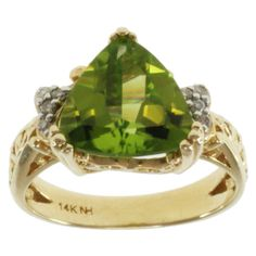 Michael Valitutti 14K Yellow Gold Triangle-cut Peridot and Diamond Ring
