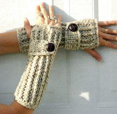 warm oats crochet button wrist warmers, arm warmers, fingerless glo......