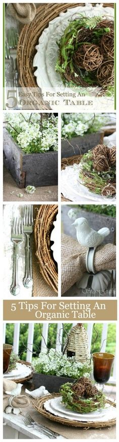 5 EASY TIPS FOR SETTING AN ORGANIC SPRING TABLE Lots of ideas and images