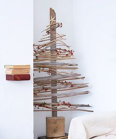 another driftwood xmas tree, possibly easier to make as it's 2D instead of 3D