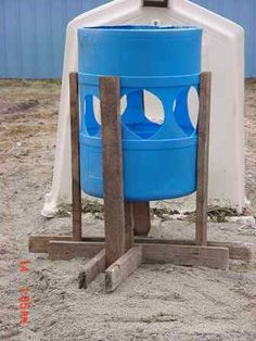 Cool feeder for feeding hay for goats.  Quick and easy.  I would make a cover to keep the rain out.
