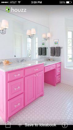 Pink bathroom vanity
