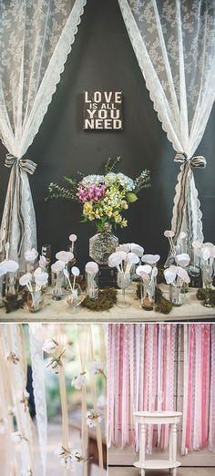 Mira la foto de abajo a la izquierda, para la pared de fotos que lindo con esas cintitas y florcitas de tela?