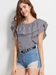 SheIn offers Vertical Striped Ruffled Boat Neck Top & more to fit your fashionable needs. Casual Dresses, Casual Outfits, Fashion Outfits, Womens Fashion, Sari Blouse Designs, Blouse Styles, Stylish Tops, Trendy Tops, Boat Neck Tops