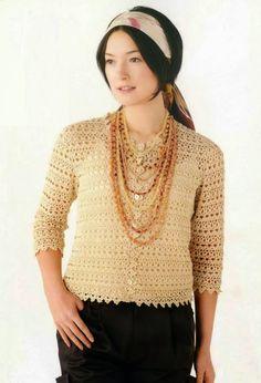 Patrón #324: Blusa Beige a Crochet  #ctejidas http://blgs.co/7B0C9P