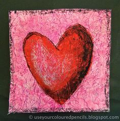 Scrunch white tissue paper, glue to page, paint.  When dry, rub oil pastel in contrasting color over entire page. Draw and paint a heart. Outline heart in black pastel and also make a border. add black and white pastel to create light and shadow.