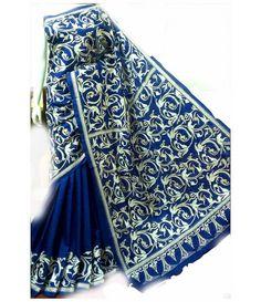 Blue Silk Saree-Kantha Work
