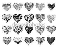 Herunterladen - Tattoo-Herzen — Stockillustration #62084773