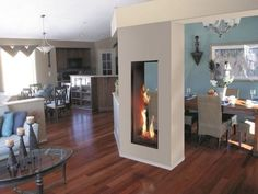 vertical double-sided fireplace