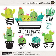 Cute Succulent and Cactus EPS PNG succulent cactus cacti summer plant desert pot green cute face happy smile character cup spike sharp thorn funny botany group vector illustration eps png clipart clip art set collection graphic tropical garden isolated Cactus Clipart, Cactus Vector, Homemade Business, Summer Plants, Classroom Themes, Embroidery Files, Printable Invitations, Printables, Doodles