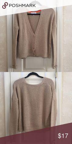 Tan Cardigan Tan v-neck cardigan. Waffle knit. 100% acrylic. Sweaters Cardigans