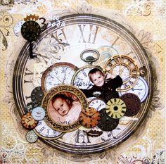 Layout: Time Flies - clock face, small photos, time pieces