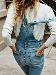 Posing with overalls
